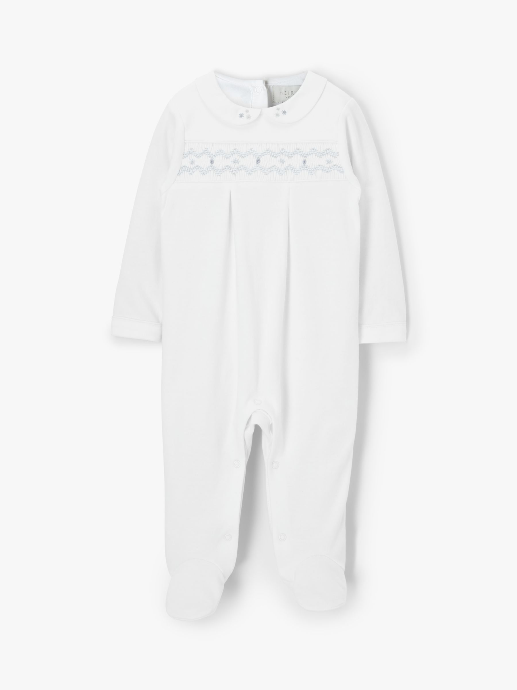 John Lewis & Partners Heirloom Collection Baby Smock Sleepsuit, White