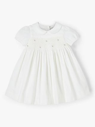 John Lewis & Partners Heirloom Collection Baby Cord Dress, White