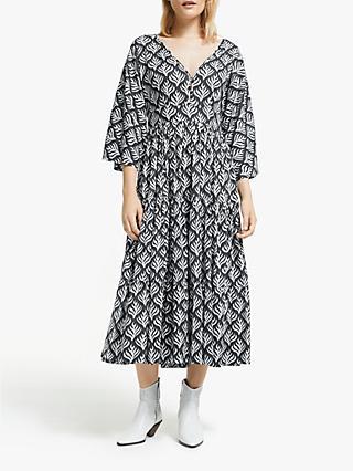 67e2232292 AND/OR La Galeria Elefante Kimono Feather Print Midi Dress, Ivory/Grey
