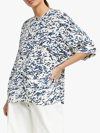 Kin Oversized Printed Shirt, Blue