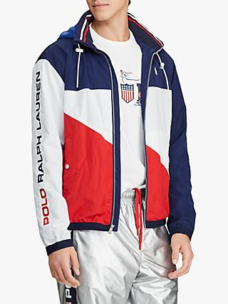 Polo Ralph Lauren Pace Full Zip Jacket, White/Red/Navy