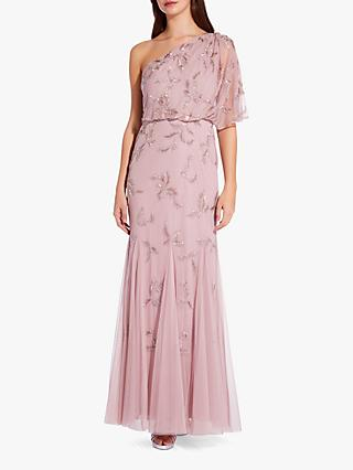 Adrianna Papell Asymmetric Long Beaded Dress, Dusted Petal