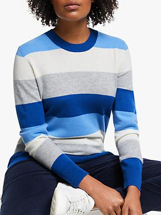 Collection WEEKEND by John Lewis Cashmere Tonal Stripe Crew Neck Jumper