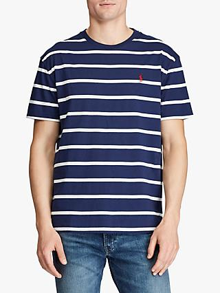 Polo Ralph Lauren Custom Slim Fit Striped T-Shirt, Newport Navy/Nevis