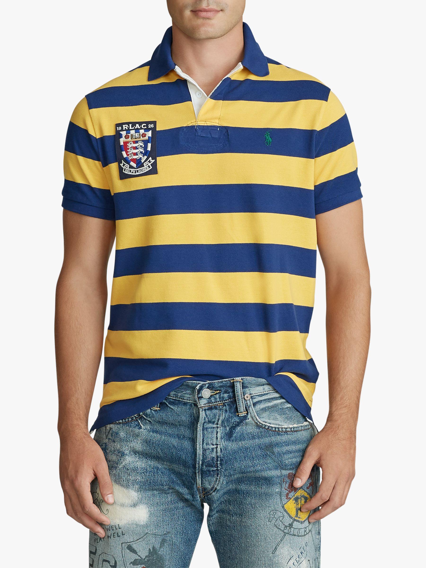 d800a7a68 Polo Ralph Lauren Custom Slim Fit Mesh Polo Shirt, Sapphire/Gold