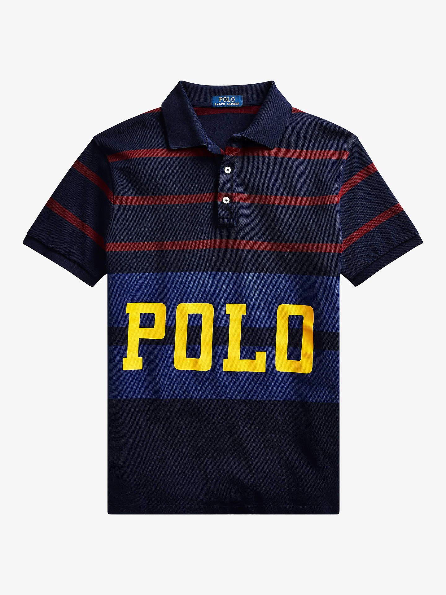 official photos 7ca9c 26c44 Polo Ralph Lauren Logo Stripe Polo Shirt, Cruise Navy Multi