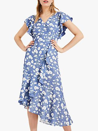 Phase Eight Veronica Ditsy Floral Print Wrap Dress, Cornflower Blue