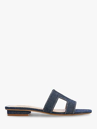Dune Loupe Denim Flat Slider Sandals, Blue