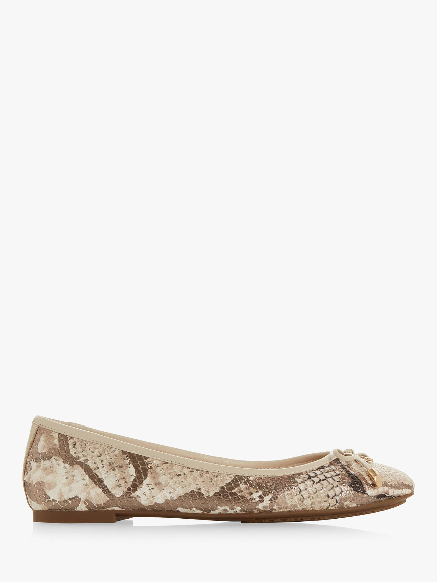 a76cd759f Buy Dune Harper Leather Bow Detail Ballerina Pumps, Snake Print, 4 Online  at johnlewis ...