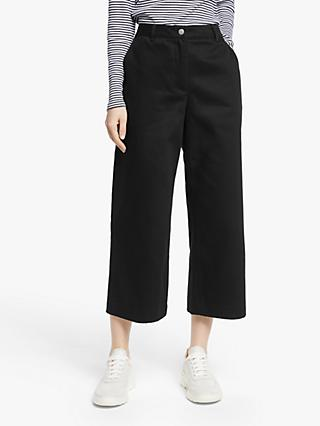 John Lewis & Partners Wide Leg Crop Twill Trousers