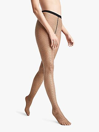 Wolford 20 Denier Diamond Snake Sheer Tights, Black/Gobi