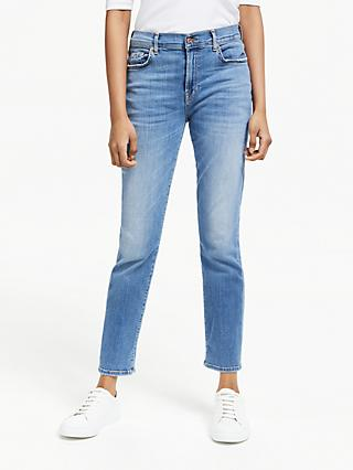 7 For All Mankind Relaxed Skinny Slim Illusion Jeans, Light Blue