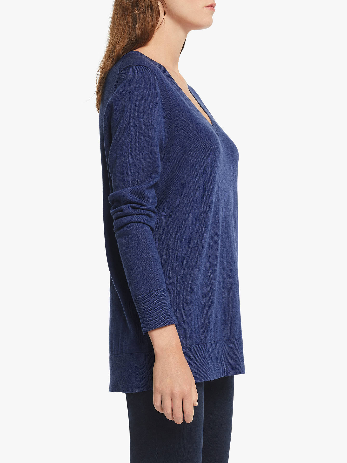 Buy John Lewis & Partners Relaxed V-Neck Sweater, Twilight Blue, 10 Online at johnlewis.com