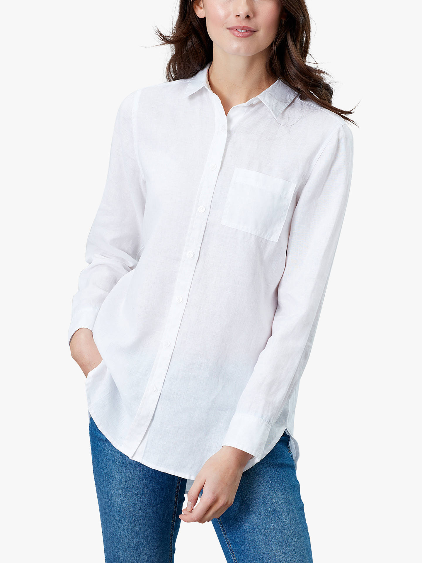 Buy Joules Jeanne Linen Shirt, White, 6 Online at johnlewis.com