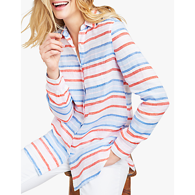 Joules Jeanne Stripe Linen Shirt, Red/Multi