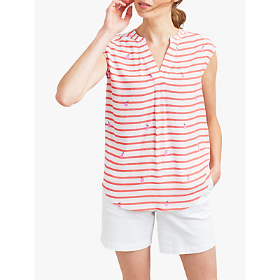 Joules Jae Sleeveless Stripe Top, Orange