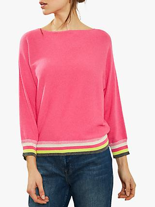 Mint Velvet Rainbow Stripe Batwing Sleeve Knit, Pink