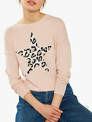 Mint Velvet Blush Leopard Star Cotton Jumper, Light Pink