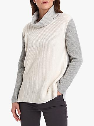 ec37fc86340775 Barbour Dipton Roll Neck Wool Blend Jumper, Cloud/Grey Marl