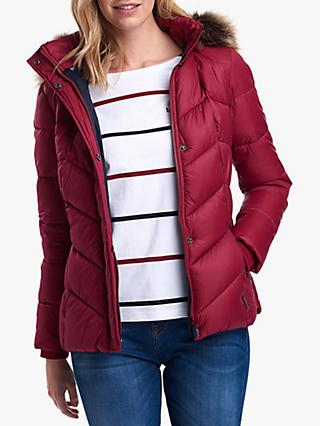 Barbour Downhall Quilted Hooded Jacket, Deep Pink/Navy