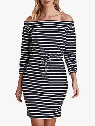 Barbour Waveson Stripe Dress, Navy/White