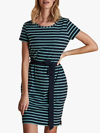 Barbour Rowlock Stripe Belted Dress, Navy/Sea Green