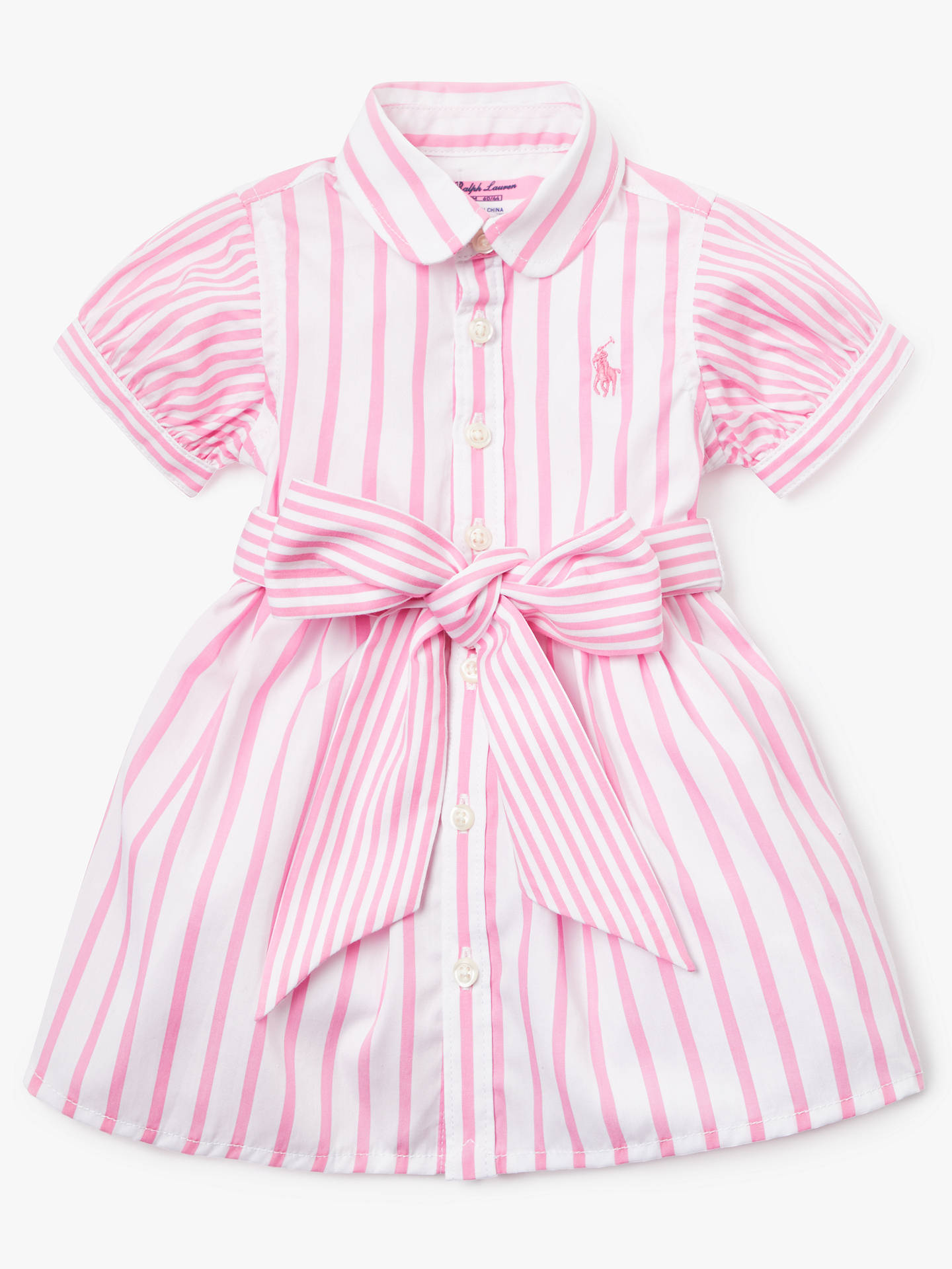 c9a555fa Buy Polo Ralph Lauren Baby Stripe Shirt Dress, Pink, 3 months Online at  johnlewis ...