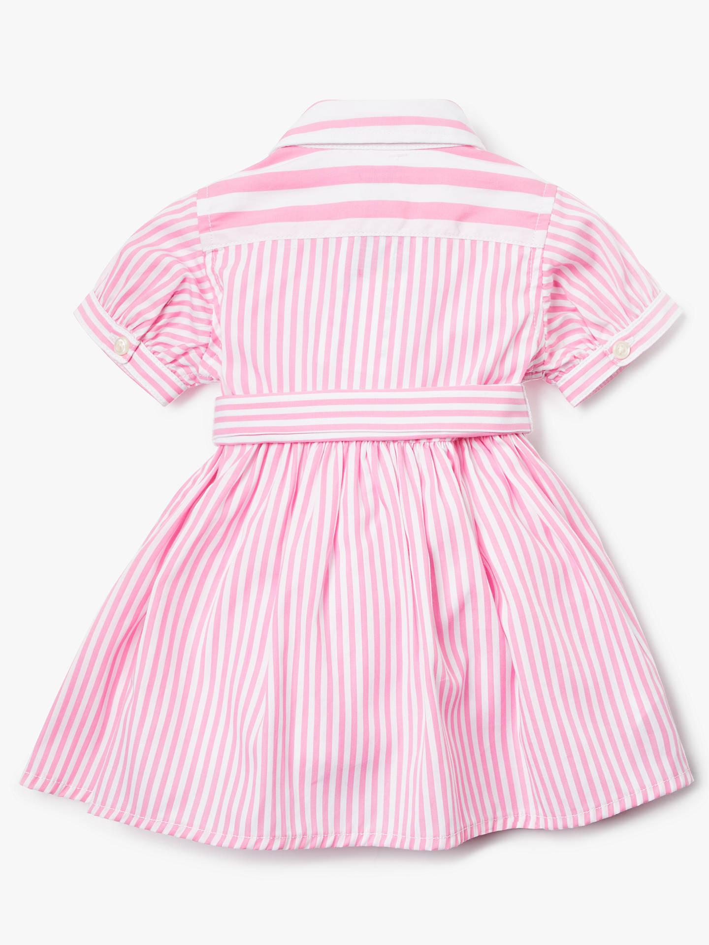 065fc441 Polo Ralph Lauren Baby Stripe Shirt Dress, Pink at John Lewis & Partners