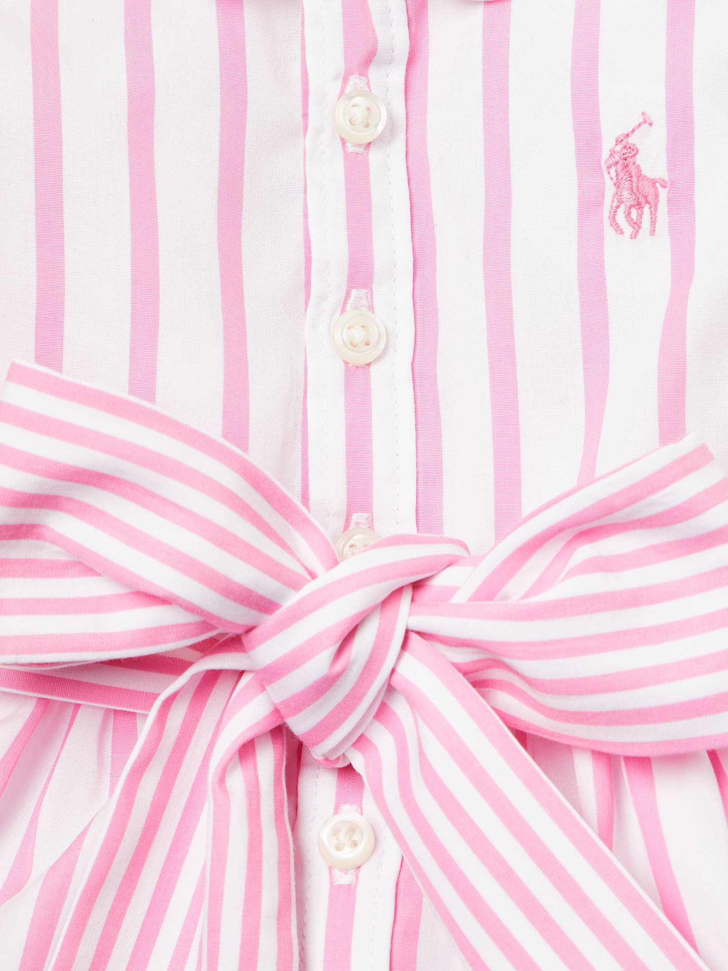 31a6ad8ee5 Polo Ralph Lauren Baby Stripe Shirt Dress, Pink at John Lewis & Partners