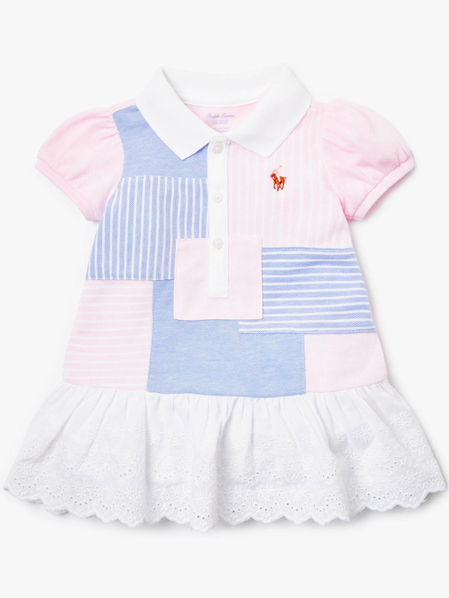 035ec38273 Polo Ralph Lauren Baby Patchwork Dress, Pink at John Lewis & Partners