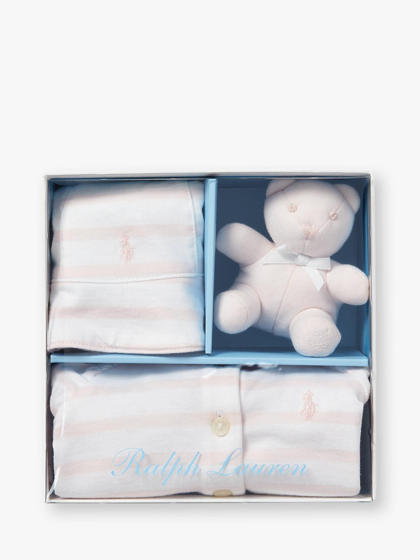 aece88189 Polo Ralph Lauren Baby Romper, Hat and Teddy Bear Set, Pink Stripe ...