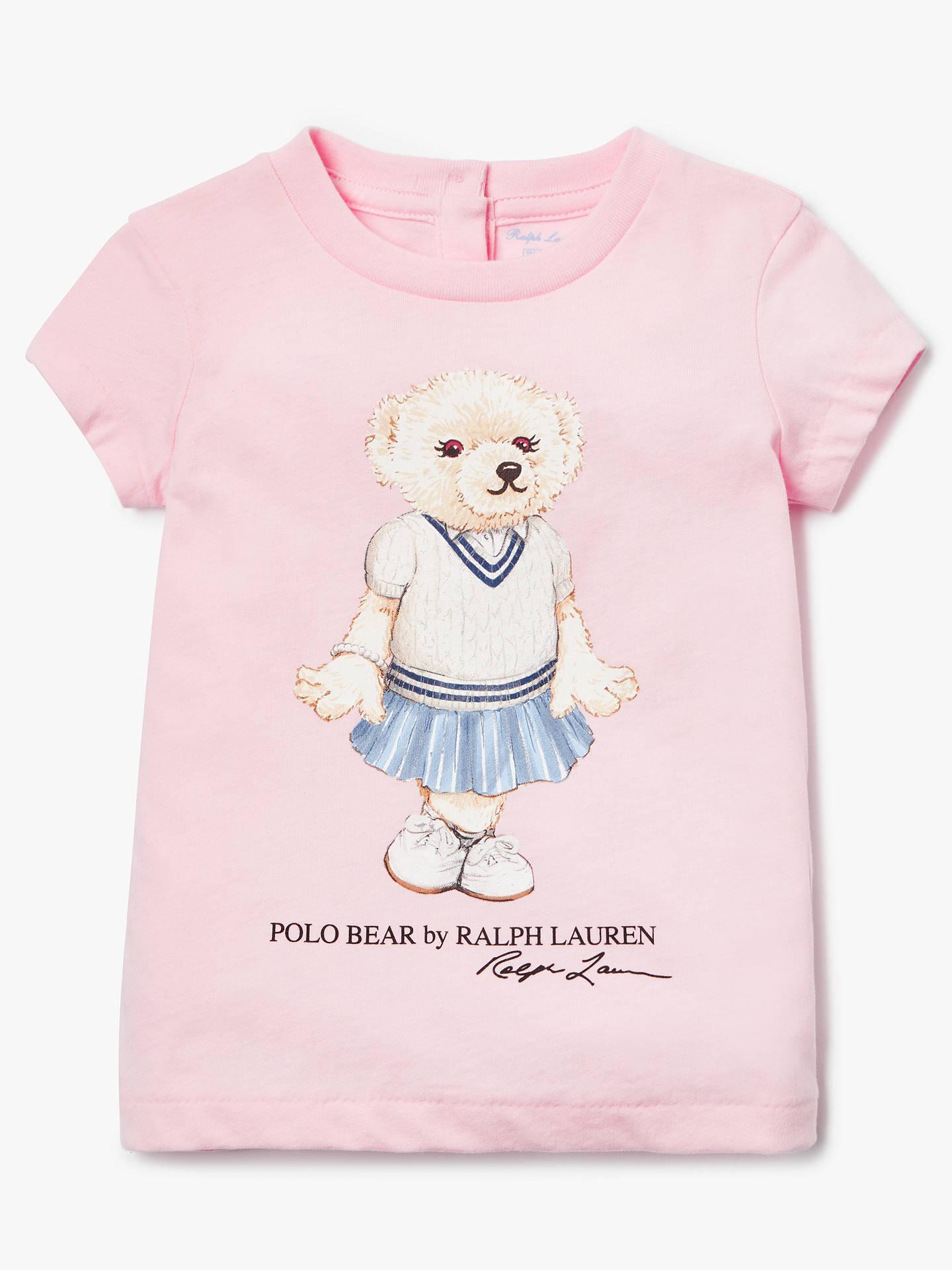 3aaf06f9 Buy Polo Ralph Lauren Baby Bear Print T-Shirt, Pink, 9 months Online ...