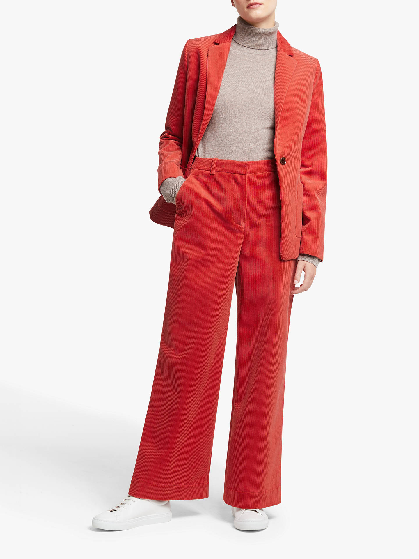 Buy John Lewis & Partners Cord Wide Leg Trousers, Dark Red, 16 Online at johnlewis.com