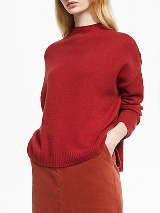 John Lewis & Partners Merino Blend Boxy Funnel Neck Sweatshirt