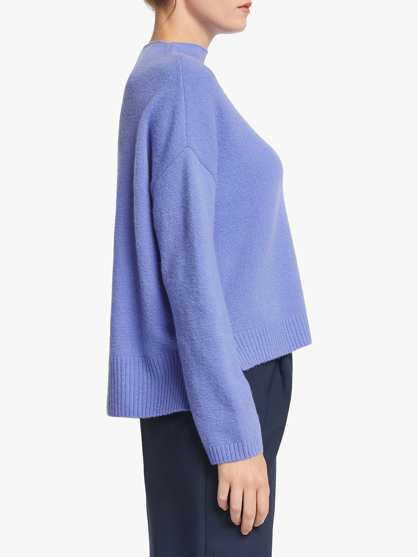 Buy John Lewis & Partners Merino Blend Boxy Funnel Neck Sweatshirt, Denim Blue, 14 Online at johnlewis.com