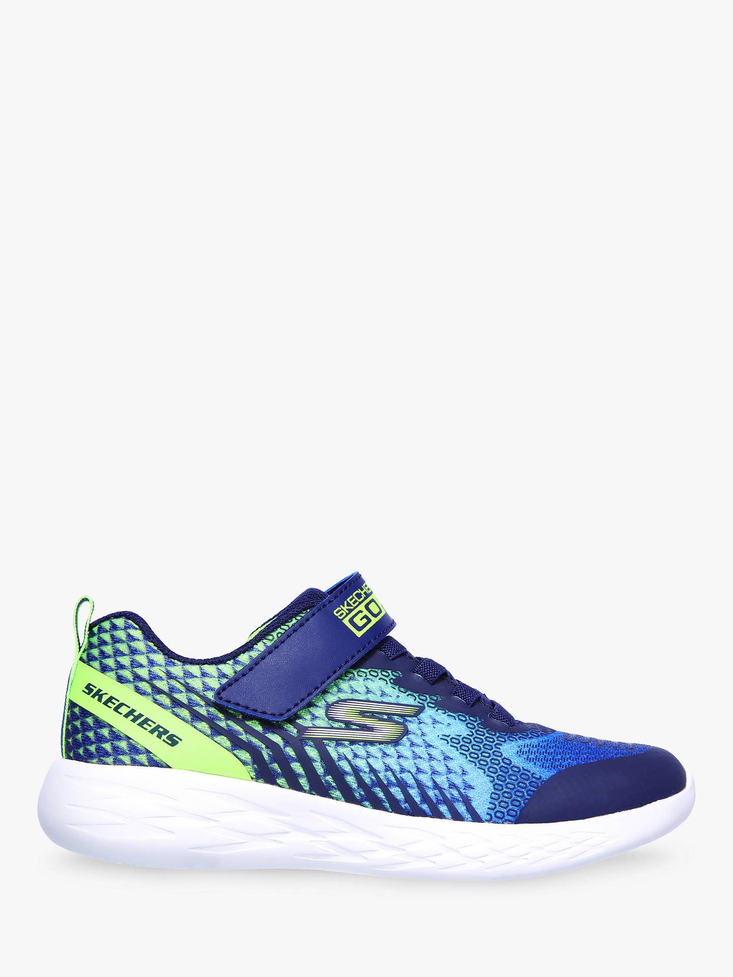 59a86d7d74d27 Skechers Children's GOrun 600 Battox Running Shoes, Navy/Lime at ...