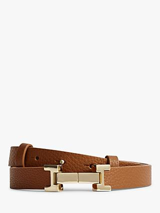 Reiss Hayley Leather Square Hinge Belt, Tan