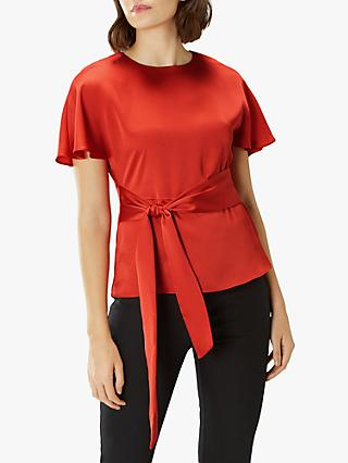 Coast Poppy Satin Tie Waist Tailored Blouse, Pink