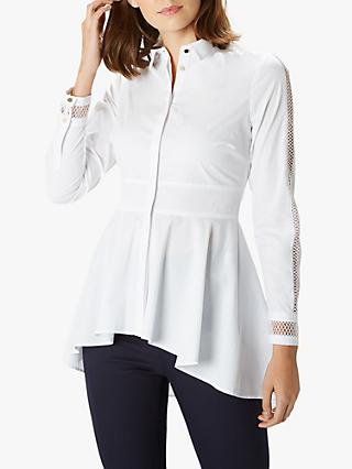 Coast Louise Ladder Detail Asymmetric Peplum Hem Shirt, White