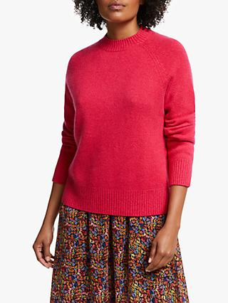 Collection WEEKEND by John Lewis Crew Neck Cashmere Jumper, Red Pink Marl