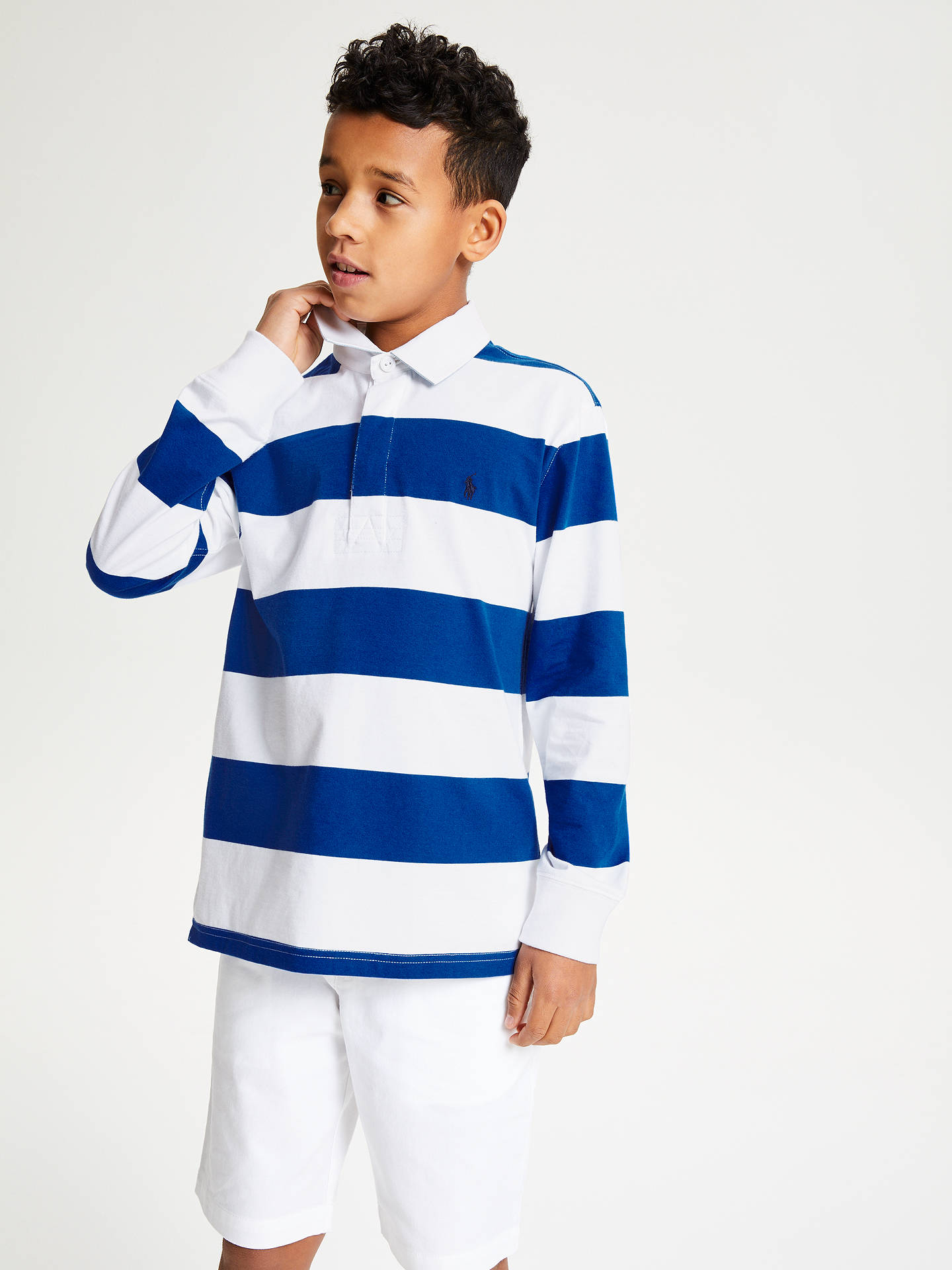 18c372354d5 Polo Ralph Lauren Boys' Rugby Top, Blue/Multi at John Lewis & Partners