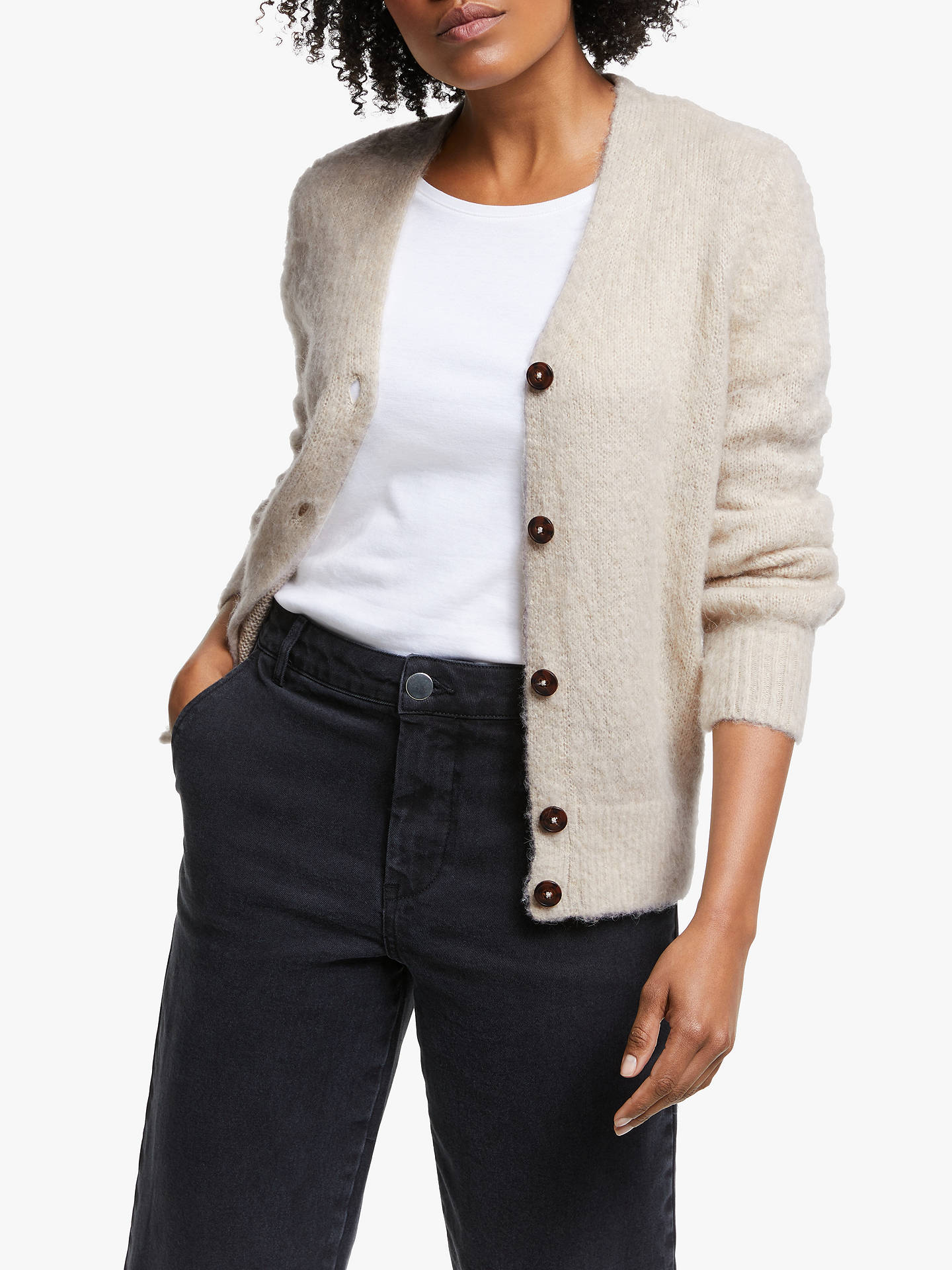 Collection Weekend By John Lewis Blouson Sleeve V Neck Cardigan, Neutral by Collection Weekend By John Lewis