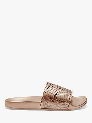 Ted Baker Missley Laser Cut-Out Slider Sandals, Rose Gold