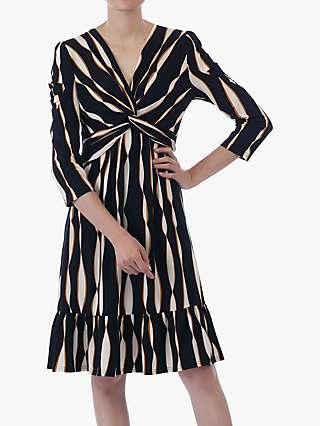 Jolie Moi Twist Flare Dress, Black Wave