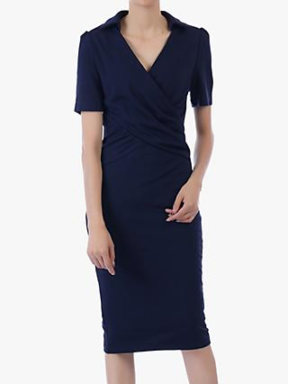 Jolie Moi V-Neck Pencil Dress, Navy