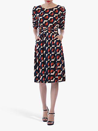 Jolie Moi Geometric Boat Neck Midi Dress, Navy Geo