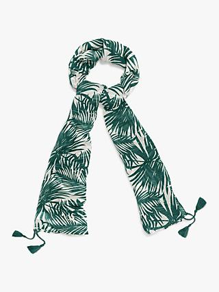 Phase Eight Sophie Palm Print Scarf, Khaki