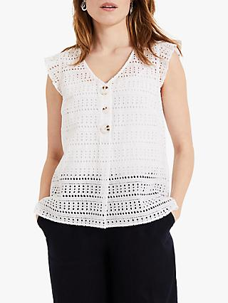 Phase Eight Myer Cut Work Cotton Blouse, White