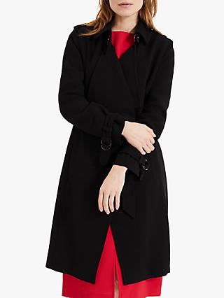 Phase Eight Crepe Trench Coat, Black