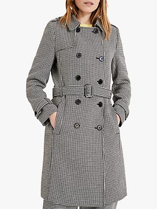 Phase Eight Tabatha Dog Tooth Trench Coat, Black/White